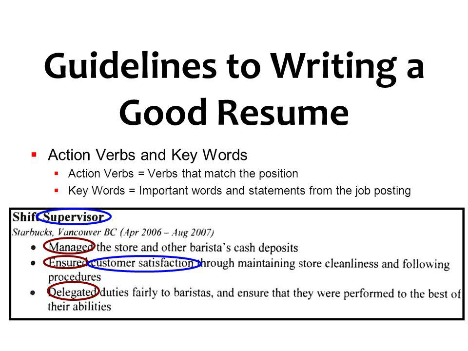Guidelines to Writing a Good Resume