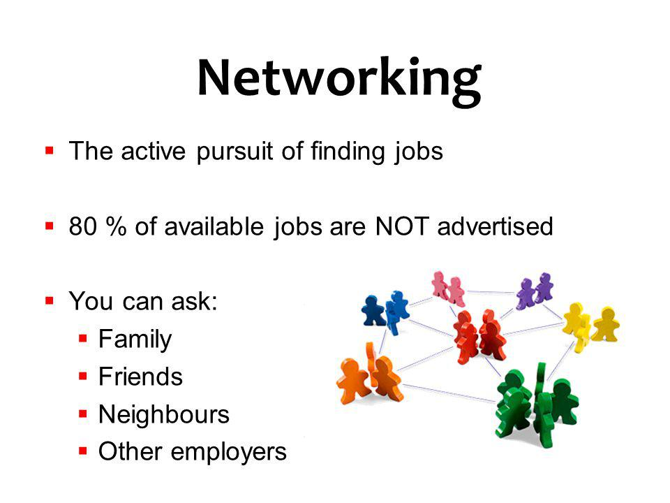 Networking The active pursuit of finding jobs