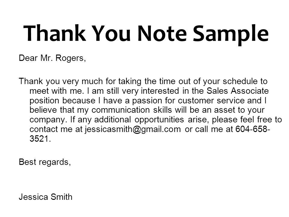 Thank You Note Sample