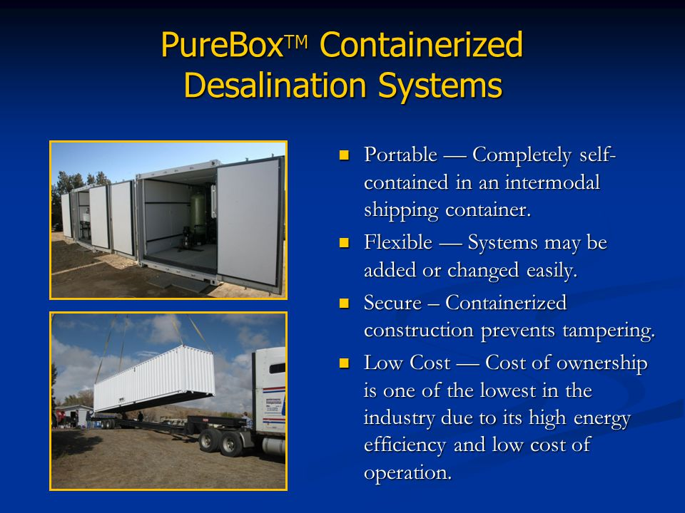 PureBoxTM Containerized Desalination Systems