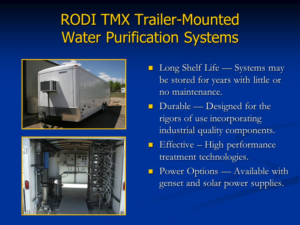 RODI TMX Trailer-Mounted Water Purification Systems