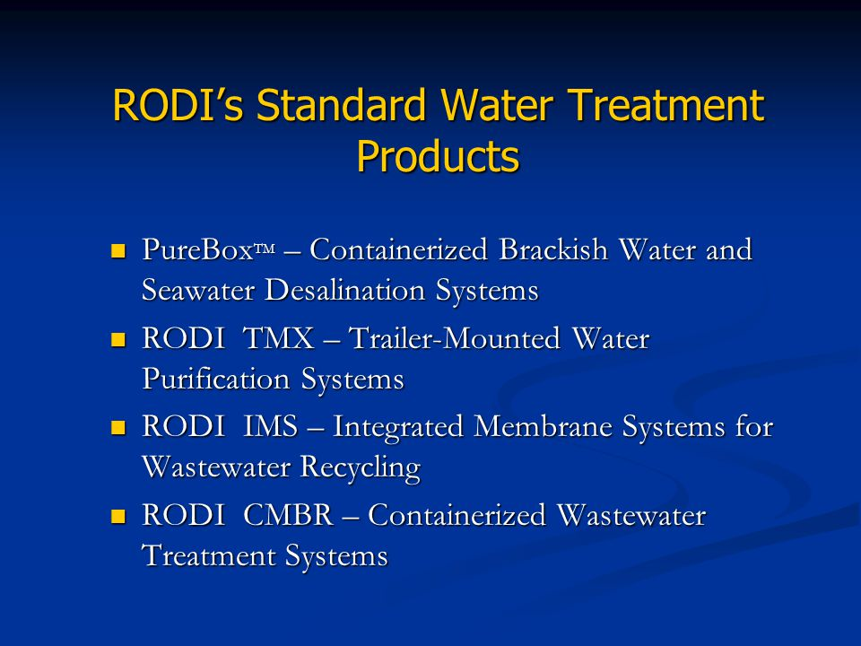 RODI's Standard Water Treatment Products