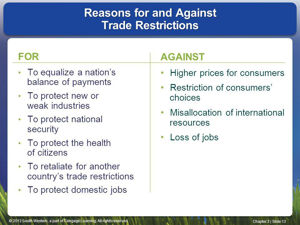 Reasons for and Against Trade Restrictions