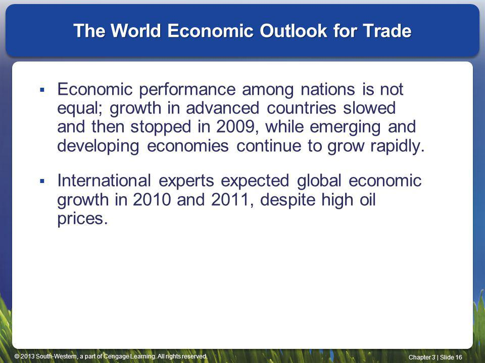 The World Economic Outlook for Trade