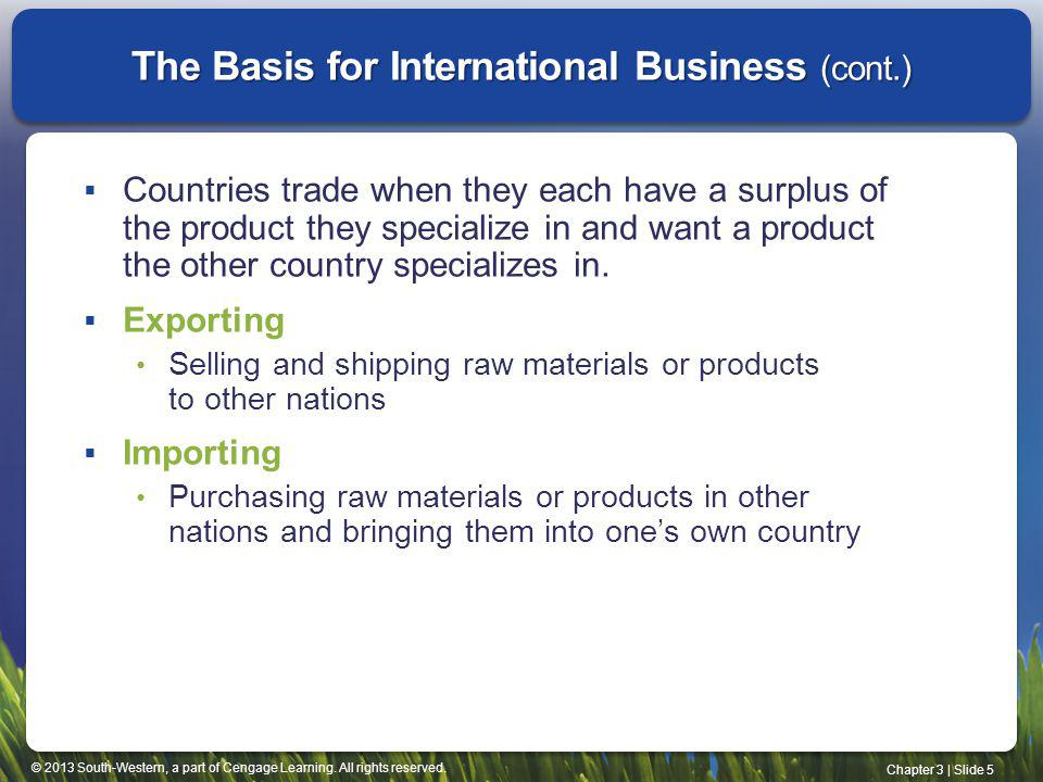 The Basis for International Business (cont.)
