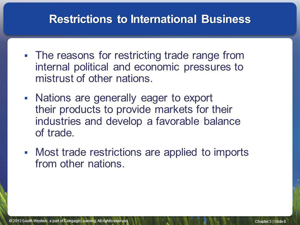 Restrictions to International Business