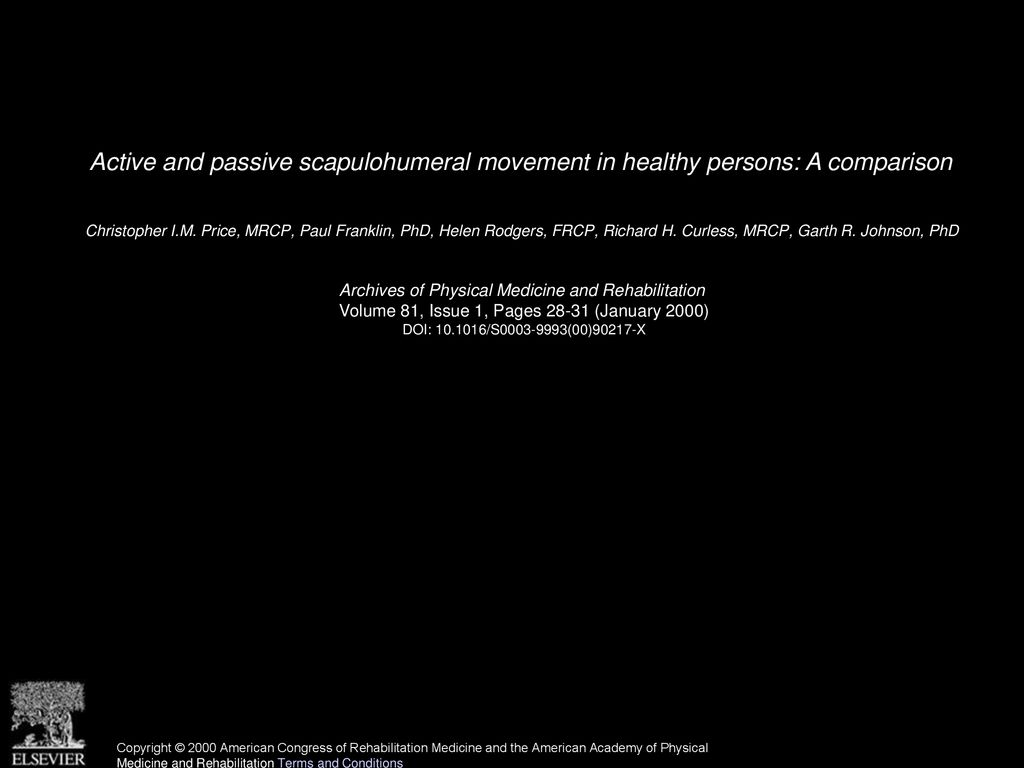Active and passive scapulohumeral movement in healthy