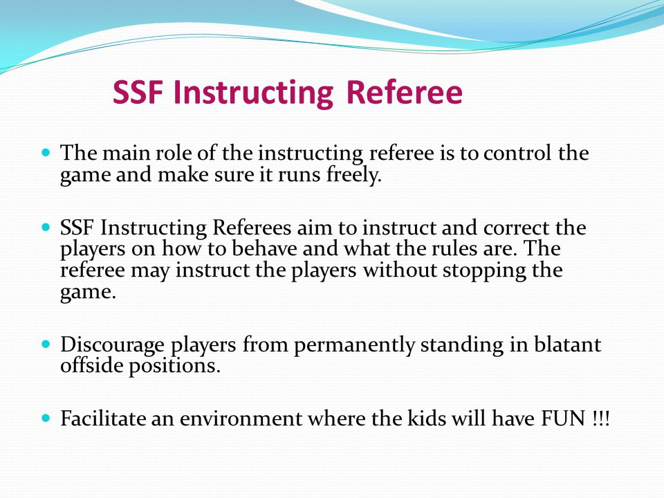 SSF Instructing Referee