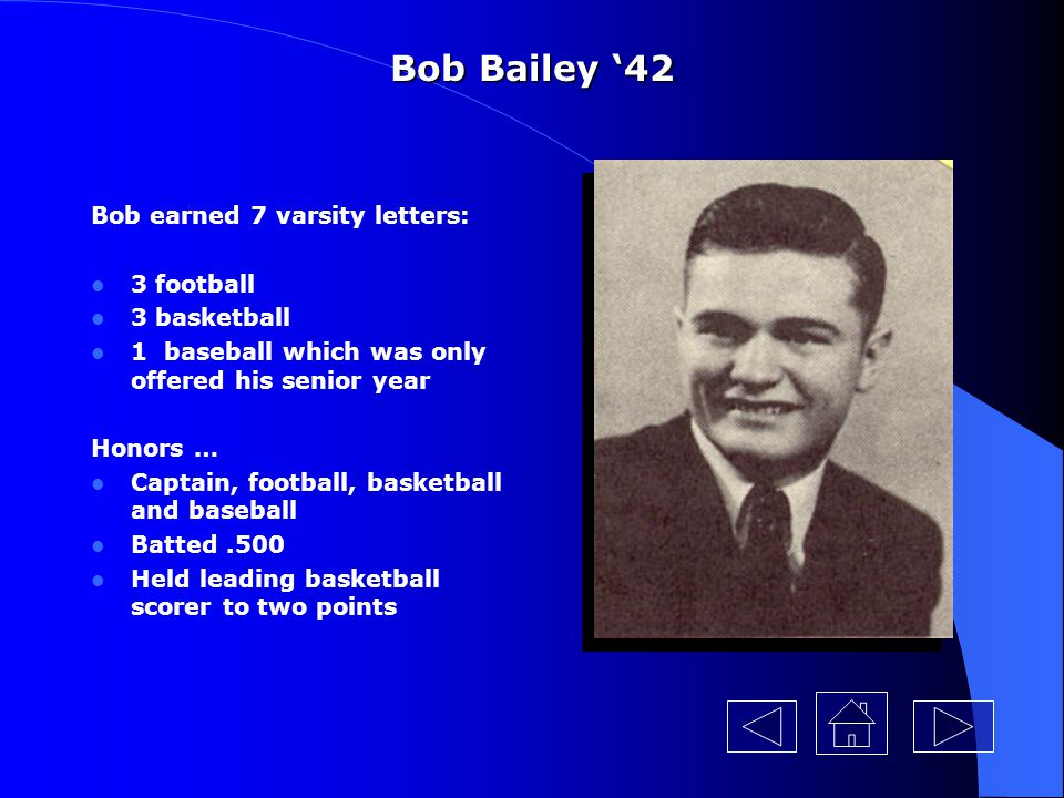 Bob Bailey '42 Bob earned 7 varsity letters: 3 football 3 basketball