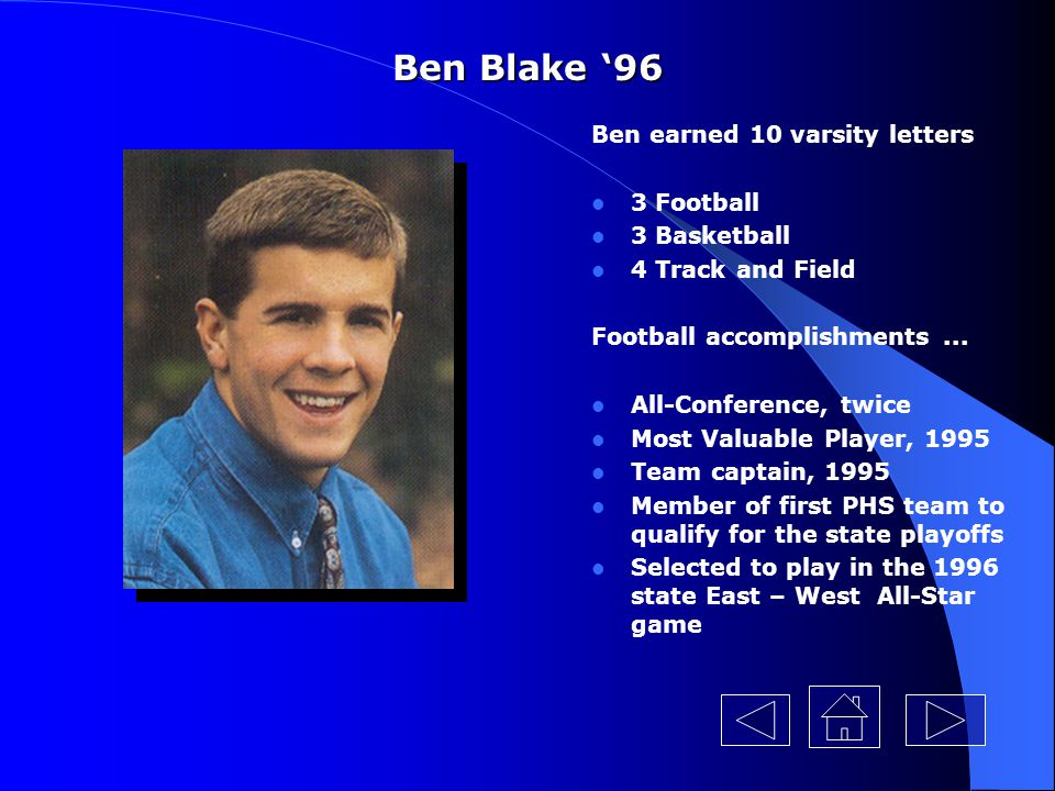 Ben Blake '96 Ben earned 10 varsity letters 3 Football 3 Basketball