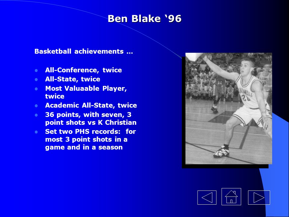 Ben Blake '96 Basketball achievements … All-Conference, twice