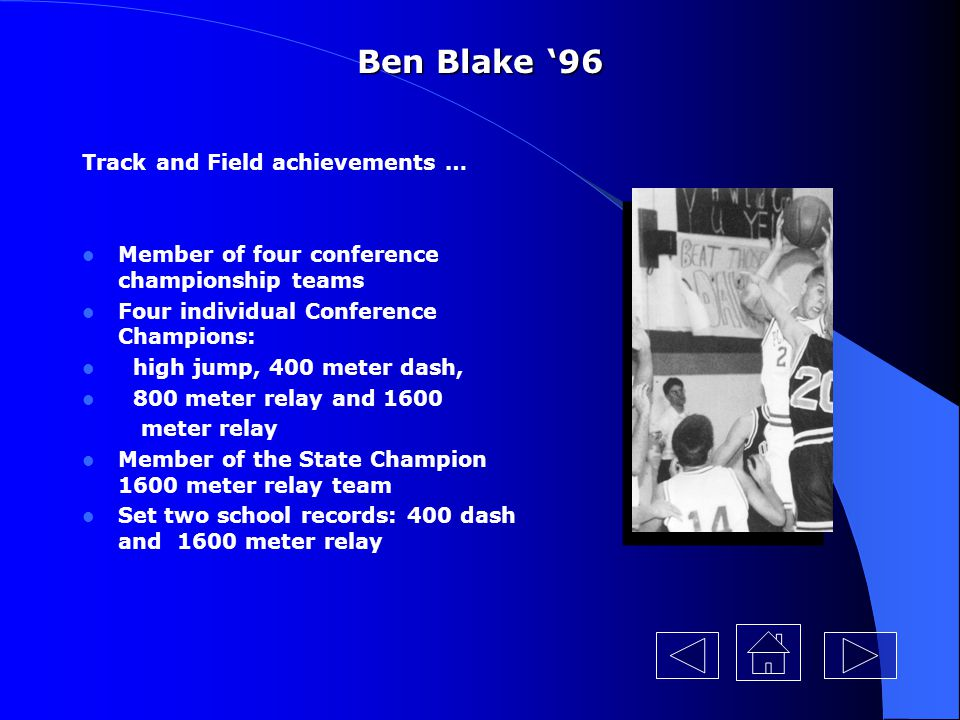 Ben Blake '96 Track and Field achievements …