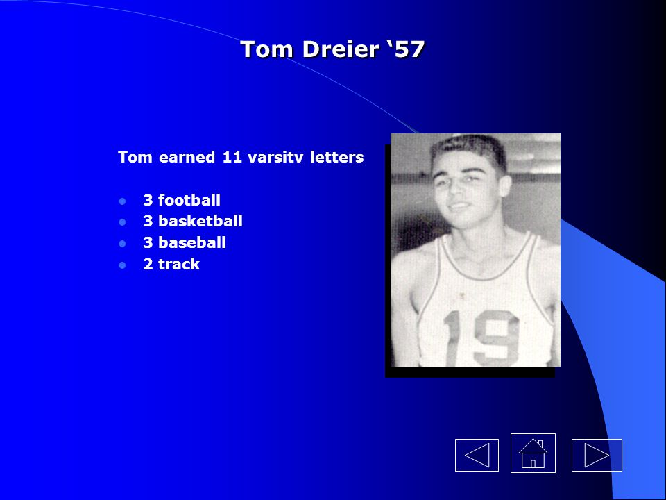 Tom Dreier '57 Tom earned 11 varsitv letters 3 football 3 basketball
