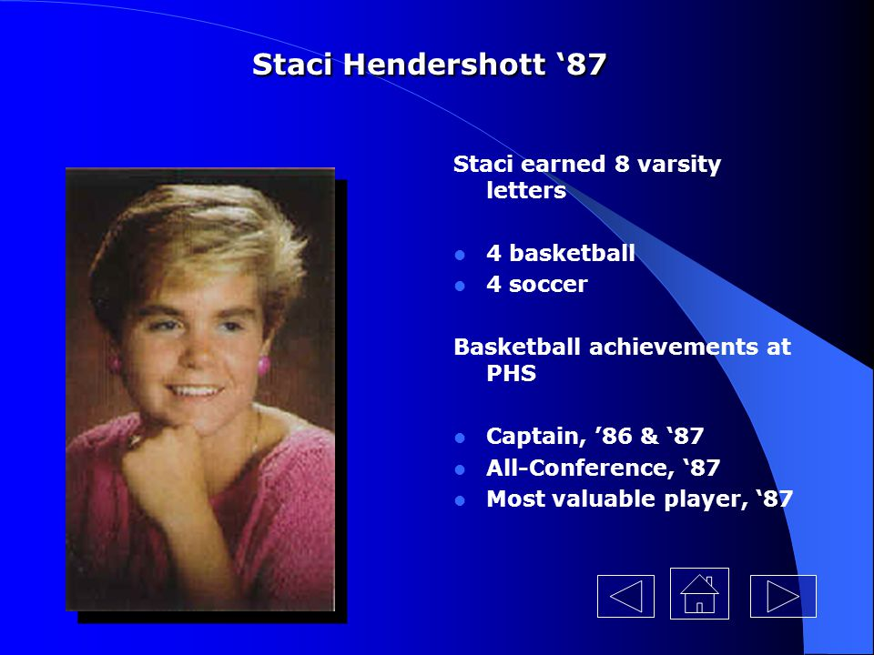 Staci Hendershott '87 Staci earned 8 varsity letters 4 basketball