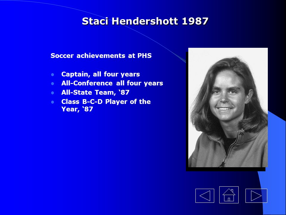 Staci Hendershott 1987 Soccer achievements at PHS
