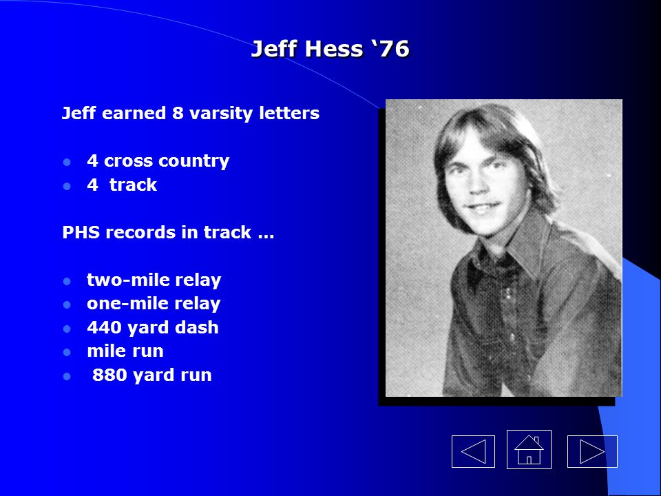 Jeff Hess '76 Jeff earned 8 varsity letters 4 cross country 4 track