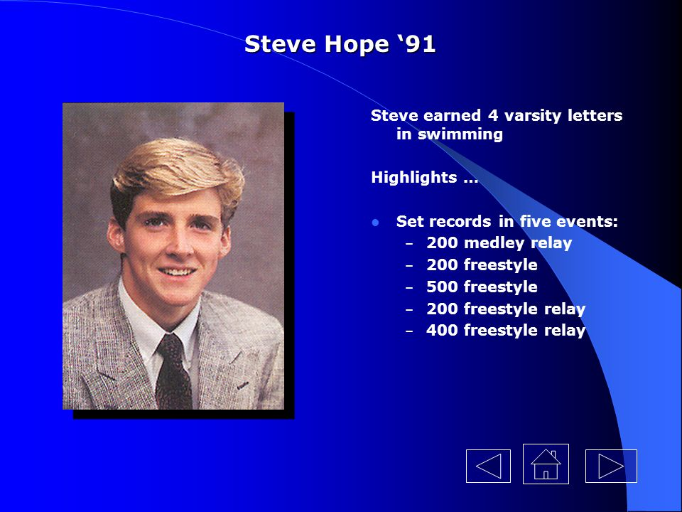 Steve Hope '91 Steve earned 4 varsity letters in swimming Highlights …