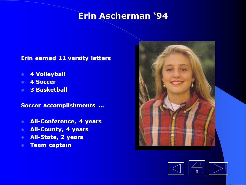 Erin Ascherman '94 Erin earned 11 varsity letters 4 Volleyball