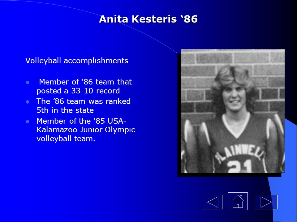 Anita Kesteris '86 Volleyball accomplishments
