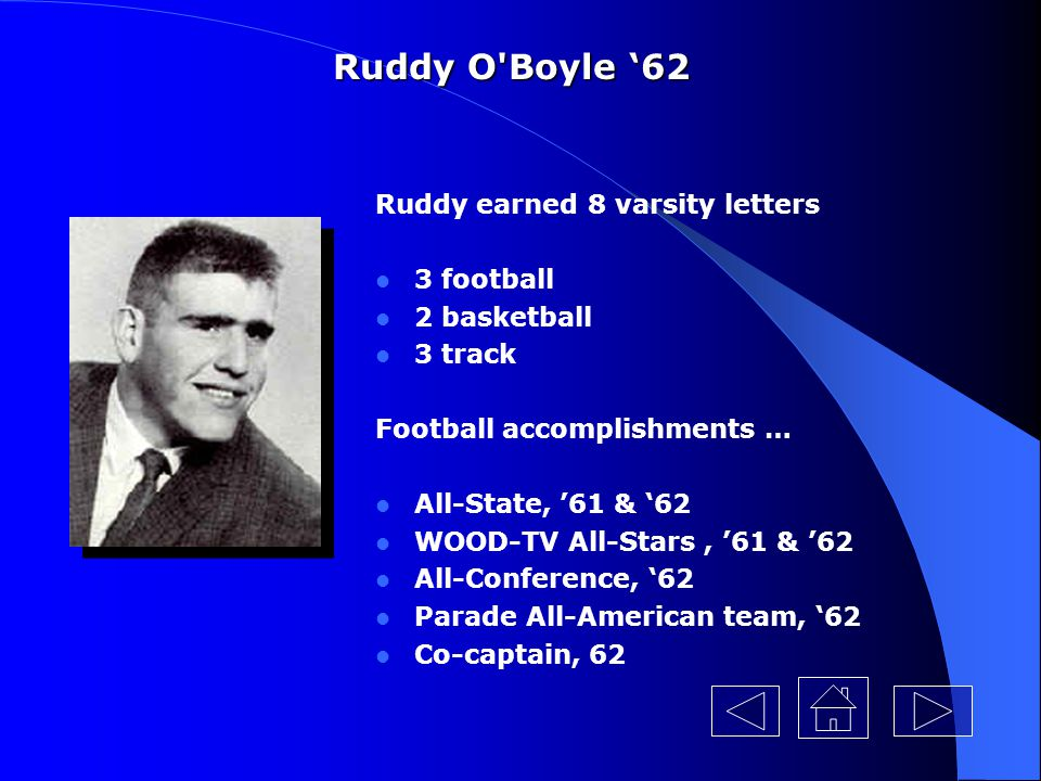 Ruddy O Boyle '62 Ruddy earned 8 varsity letters 3 football