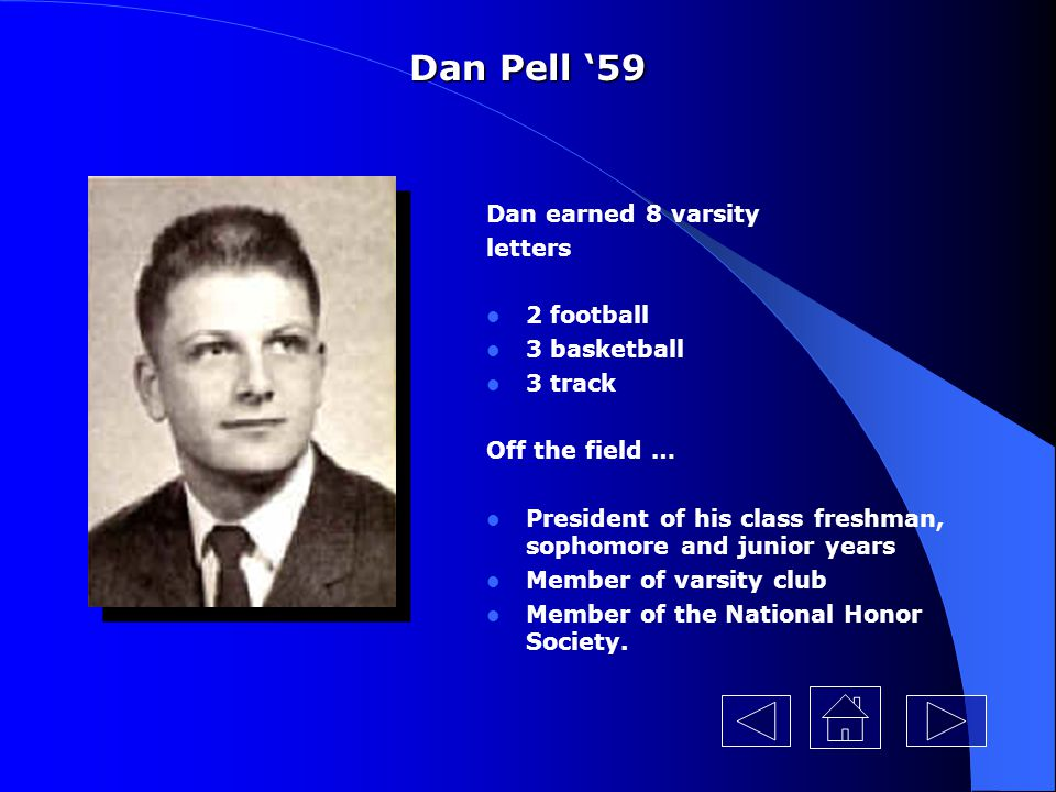 Dan Pell '59 Dan earned 8 varsity letters 2 football 3 basketball