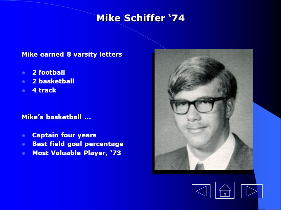 Mike Schiffer '74 Mike earned 8 varsity letters 2 football