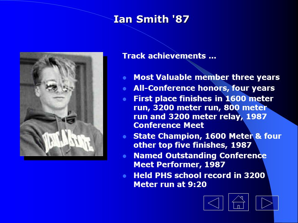 Ian Smith 87 Track achievements … Most Valuable member three years