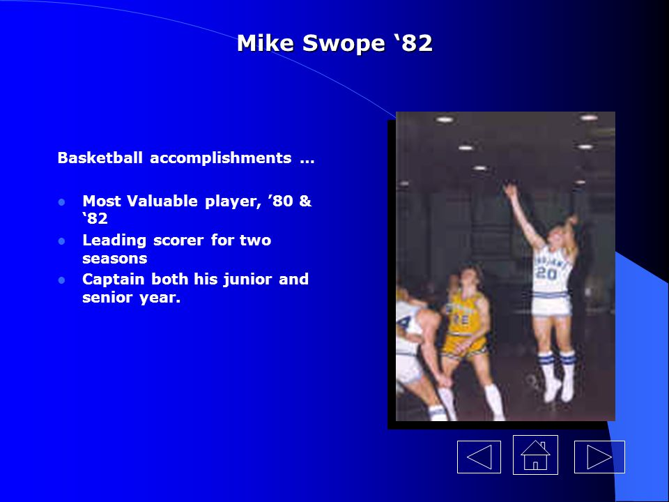 Mike Swope '82 Basketball accomplishments …
