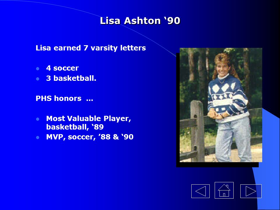Lisa Ashton '90 Lisa earned 7 varsity letters 4 soccer 3 basketball.