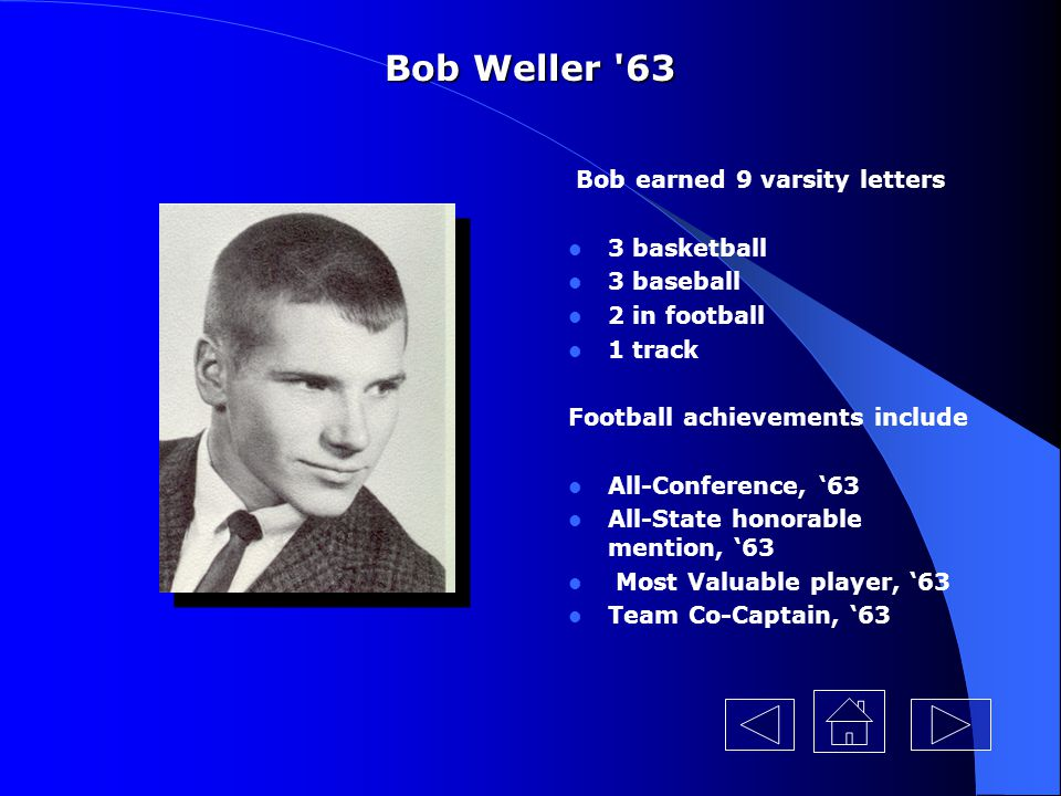 Bob Weller 63 Bob earned 9 varsity letters 3 basketball 3 baseball
