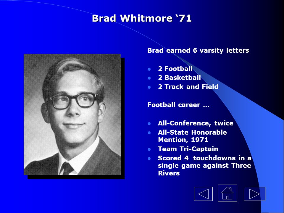 Brad Whitmore '71 Brad earned 6 varsity letters 2 Football