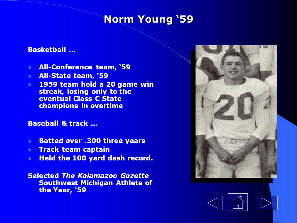 Norm Young '59 Basketball … All-Conference team, '59