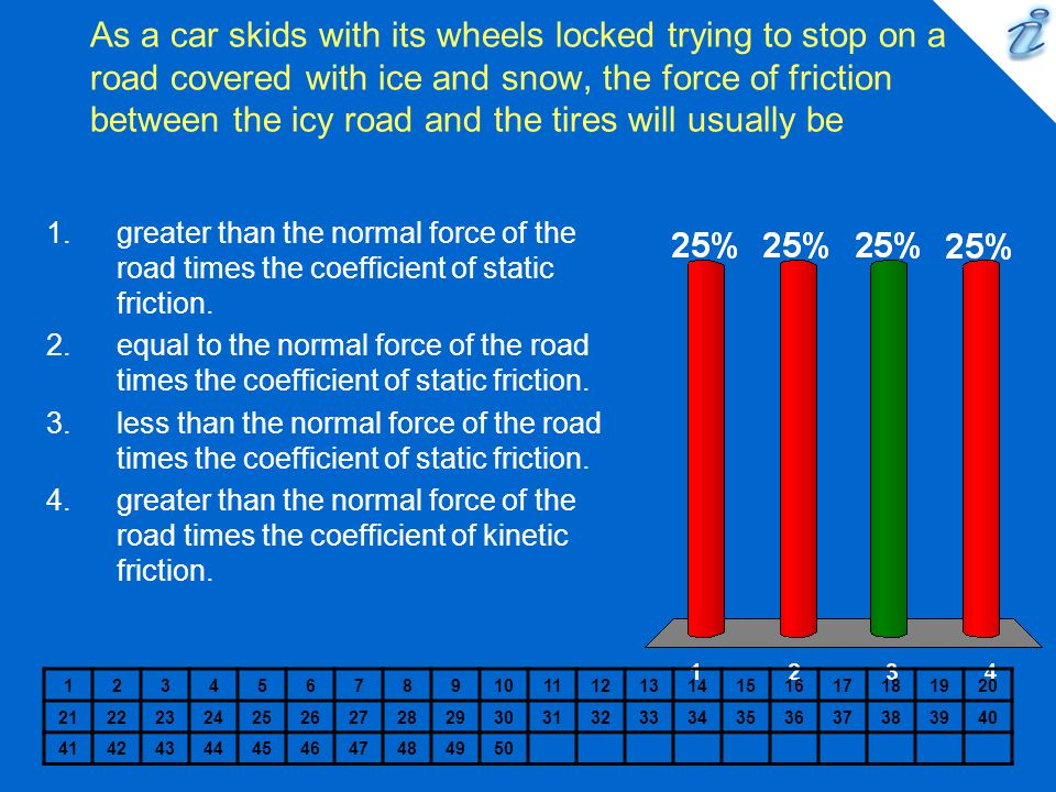 As a car skids with its wheels locked trying to stop on a road covered with ice and snow, the force of friction between the icy road and the tires will usually be