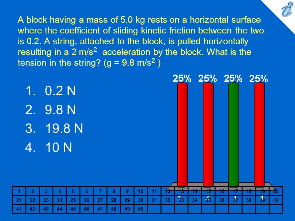A block having a mass of 5.0 kg rests on a horizontal surface where the coefficient of sliding kinetic friction between the two is 0.2. A string, attached to the block, is pulled horizontally resulting in a 2 m/s2 acceleration by the block. What is the tension in the string (g = 9.8 m/s2 )