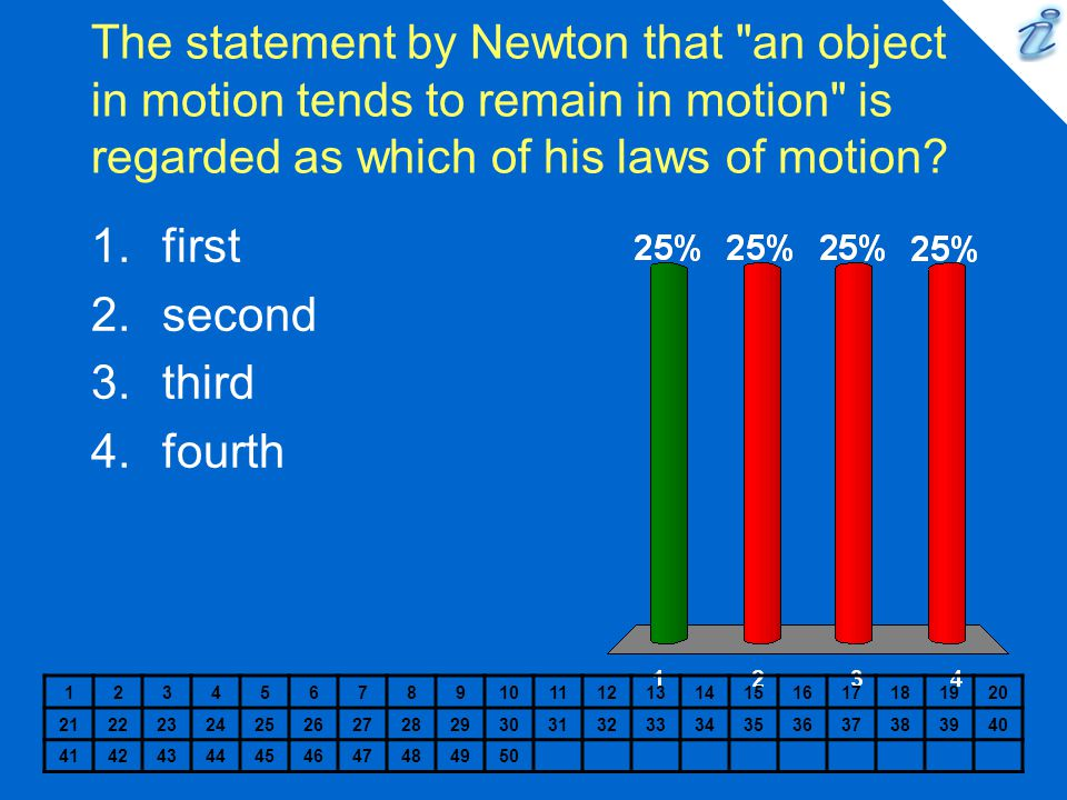 The statement by Newton that an object in motion tends to remain in motion is regarded as which of his laws of motion