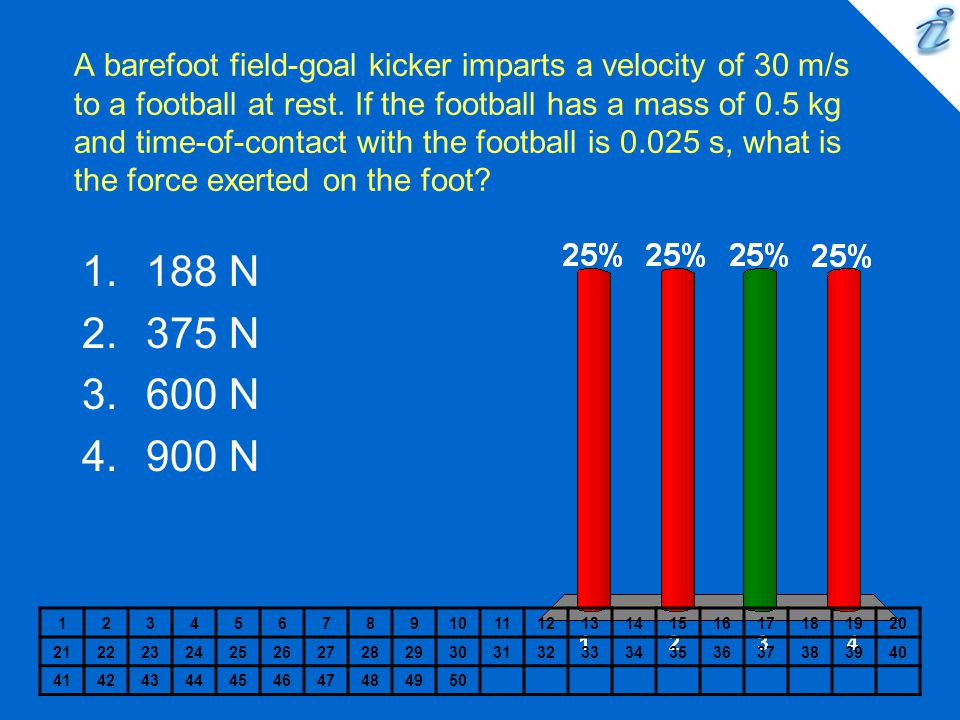 A barefoot field-goal kicker imparts a velocity of 30 m/s to a football at rest. If the football has a mass of 0.5 kg and time-of-contact with the football is 0.025 s, what is the force exerted on the foot