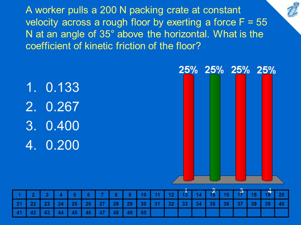 A worker pulls a 200 N packing crate at constant velocity across a rough floor by exerting a force F = 55 N at an angle of 35° above the horizontal. What is the coefficient of kinetic friction of the floor