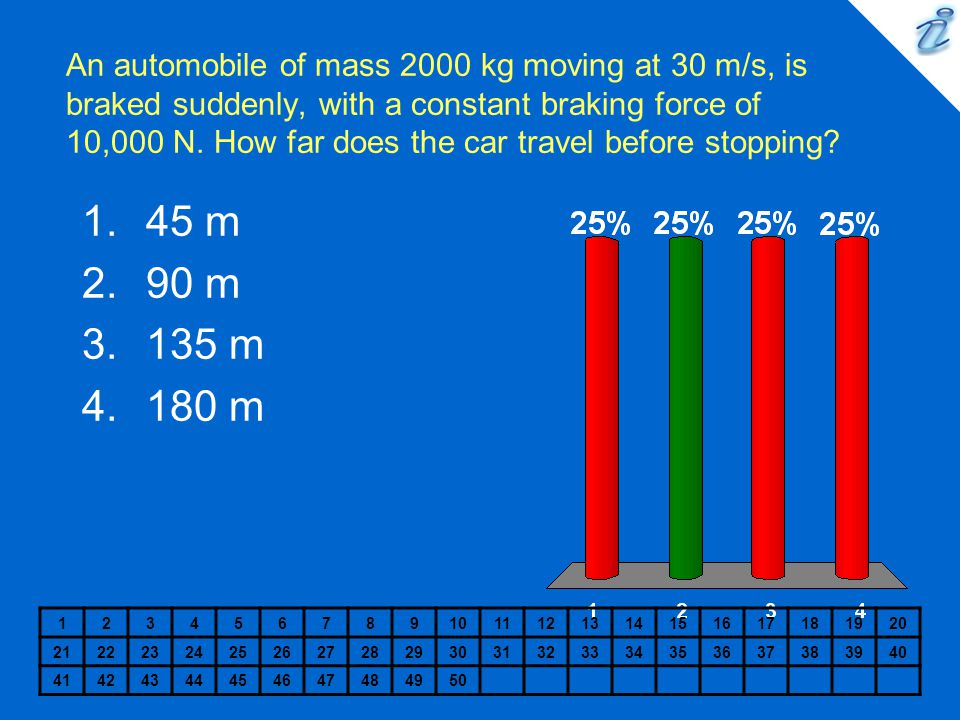 An automobile of mass 2000 kg moving at 30 m/s, is braked suddenly, with a constant braking force of 10,000 N. How far does the car travel before stopping