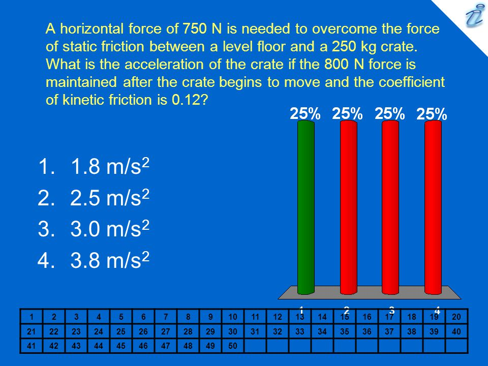 A horizontal force of 750 N is needed to overcome the force of static friction between a level floor and a 250 kg crate. What is the acceleration of the crate if the 800 N force is maintained after the crate begins to move and the coefficient of kinetic friction is 0.12