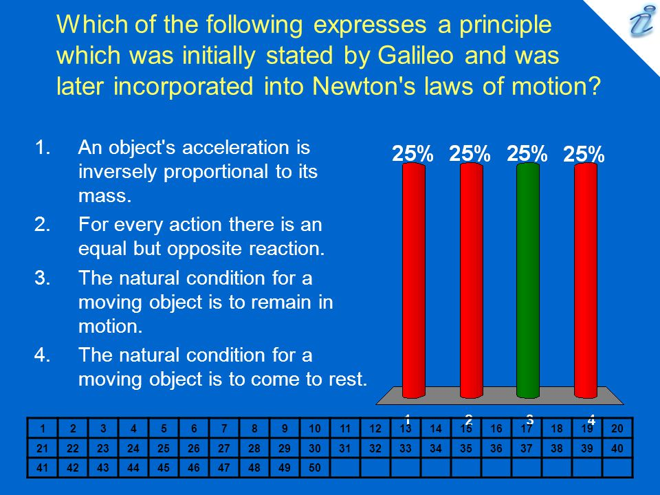 Which of the following expresses a principle which was initially stated by Galileo and was later incorporated into Newton s laws of motion