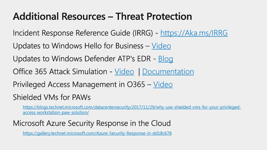 Additional Resources – Threat Protection