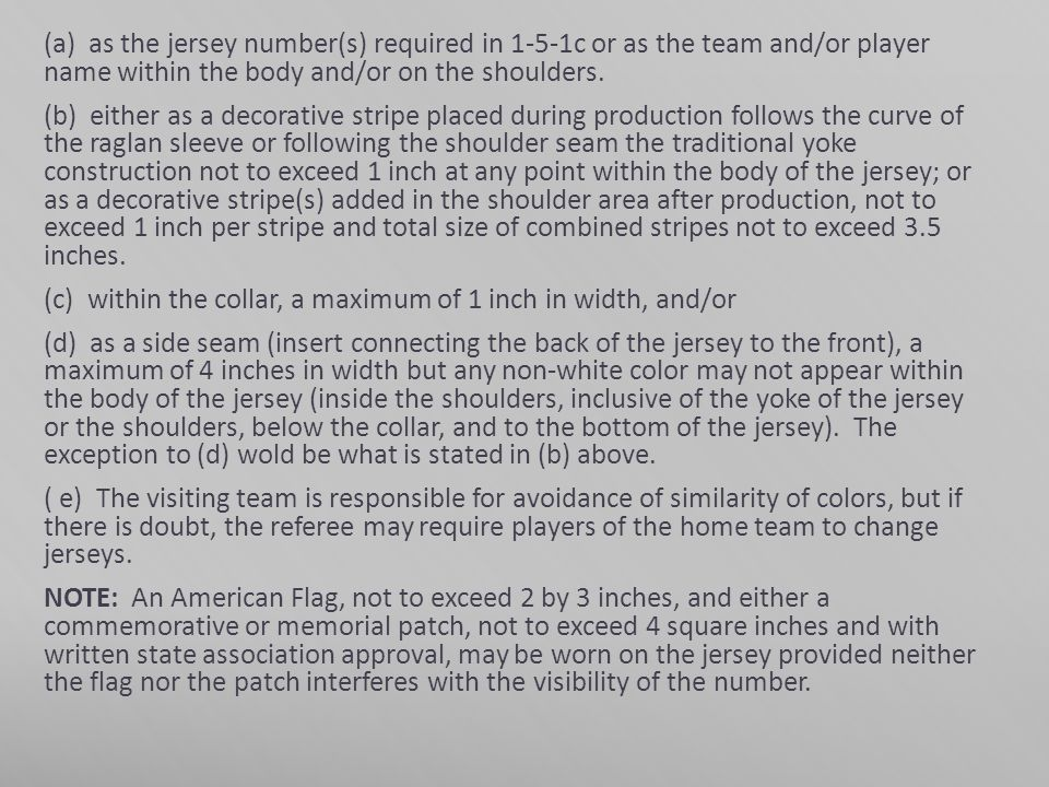 (a) as the jersey number(s) required in 1-5-1c or as the team and/or player name within the body and/or on the shoulders.