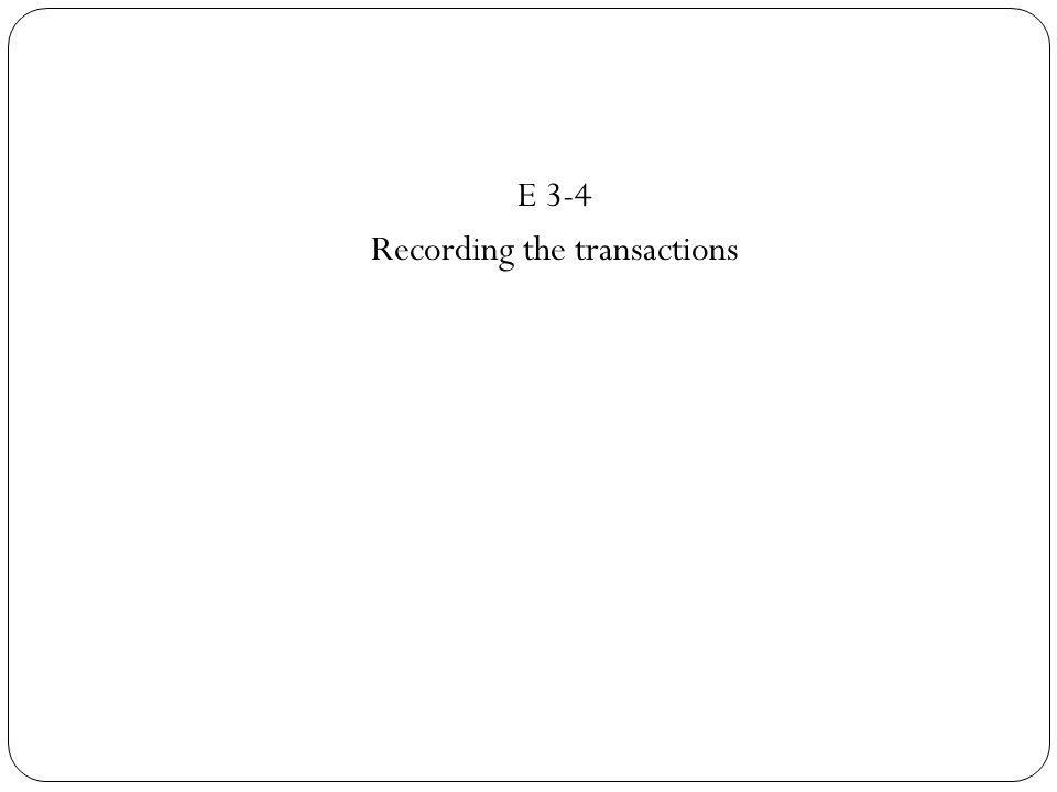 E 3-4 Recording the transactions