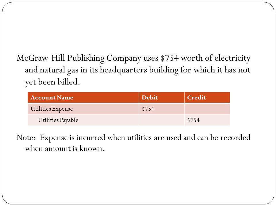 McGraw-Hill Publishing Company uses $754 worth of electricity and natural gas in its headquarters building for which it has not yet been billed.