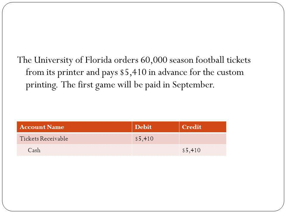 The University of Florida orders 60,000 season football tickets from its printer and pays $5,410 in advance for the custom printing. The first game will be paid in September.