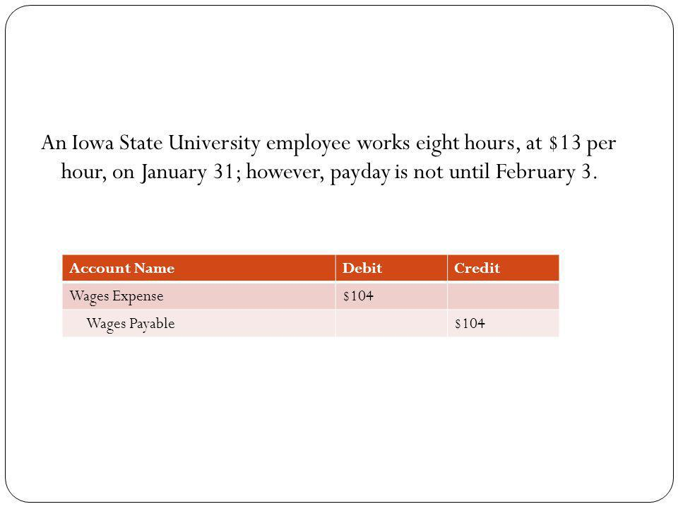 An Iowa State University employee works eight hours, at $13 per hour, on January 31; however, payday is not until February 3.