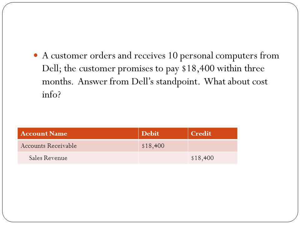 A customer orders and receives 10 personal computers from Dell; the customer promises to pay $18,400 within three months. Answer from Dell's standpoint. What about cost info