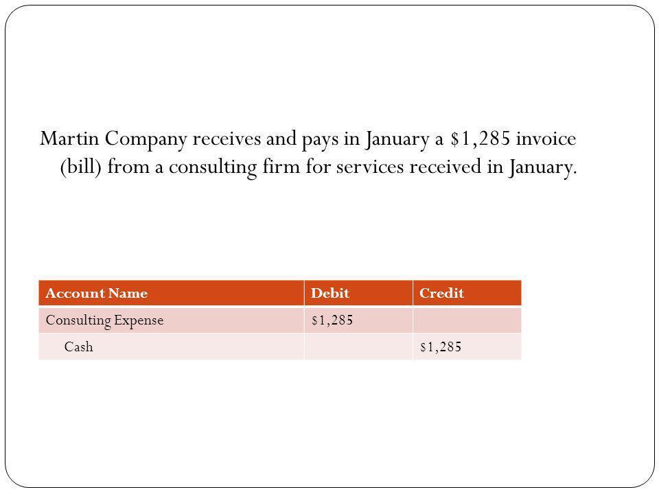 Martin Company receives and pays in January a $1,285 invoice (bill) from a consulting firm for services received in January.