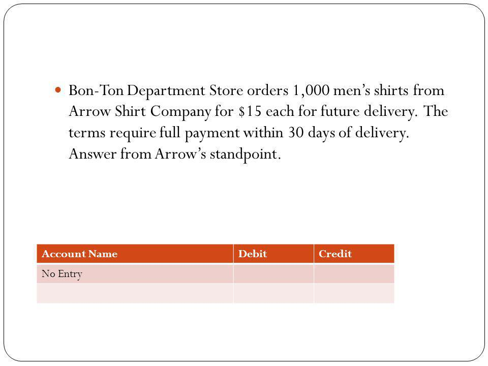 Bon-Ton Department Store orders 1,000 men's shirts from Arrow Shirt Company for $15 each for future delivery. The terms require full payment within 30 days of delivery. Answer from Arrow's standpoint.