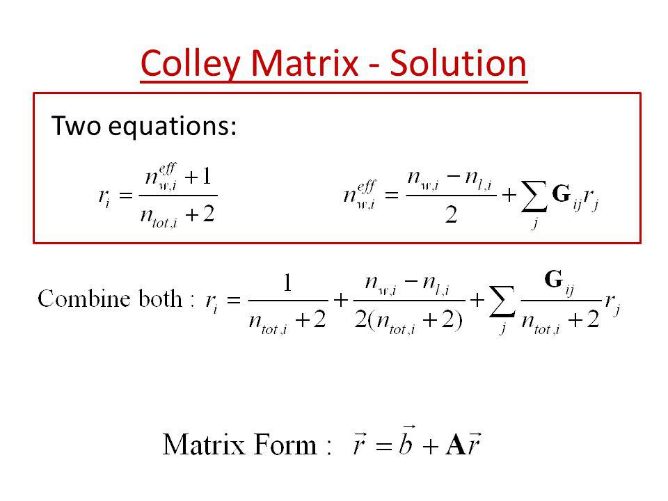 Colley Matrix - Solution